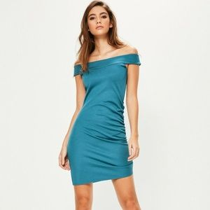 Bardot Style Ruched Side Blue Bodycon Dress 10